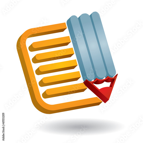 Communication icon, with document and pen