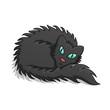 Black Fluffy Cat Vector Illustration