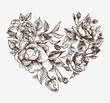 Vector sketch floral abstract heart of roses