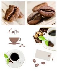 Coffee collage,coffee cup and coffee bean on wooden background.