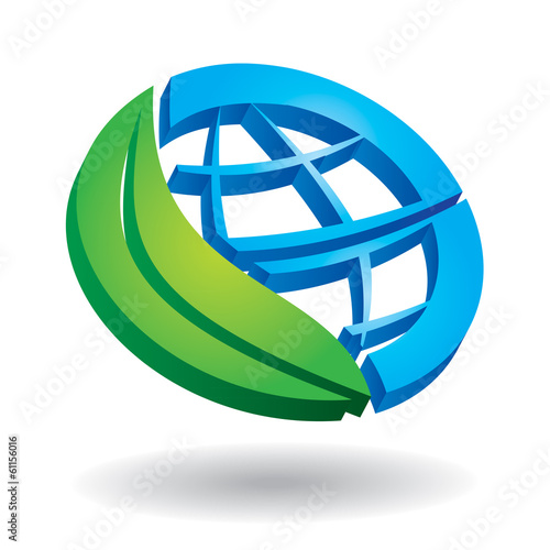 Ecology concept -  globe and leaf