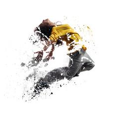 Shattered female dancer jumping.