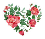 Watercolor floral abstract heart of roses