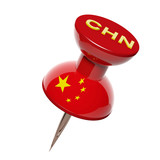3D pushpin with flag of Chinese isolated on white