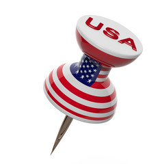 3D pushpin with flag of United States isolated