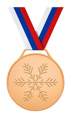 Bronze medal with white blue red ribbon