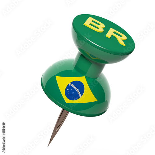 3D pushpin with flag of Brazil isolated on white