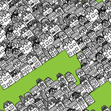 Vector hand-drawn seamless pattern - houses and real estate