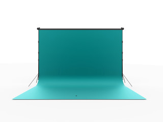 Blue photo stage background rendered isolated