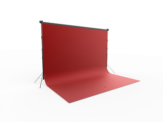 Red photo studio rendered isolated on white