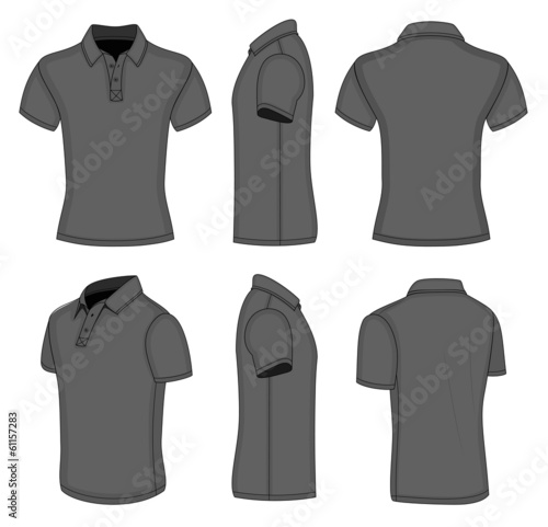 Men's black short sleeve polo shirt