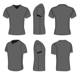 All views men's black short sleeve v-neck t-shirt