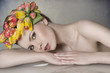 spring woman with floral garland