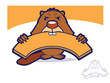 Cartoon beaver biting a wooden board