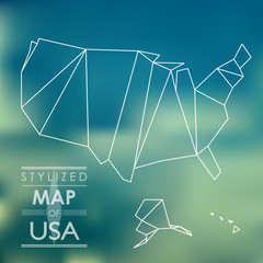 stylized map of USA