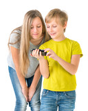 Boy and girl watching video on the phone