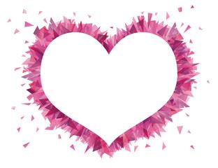 Shape of a heart from broken glass.
