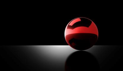 Red chrome ball rendered