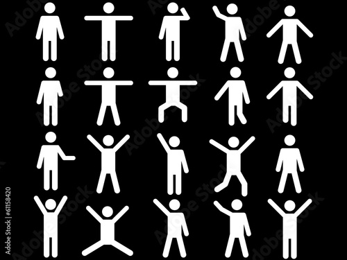 Set of active white human pictograms illustrated on white