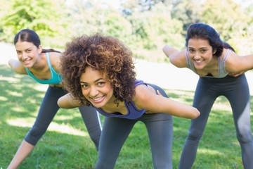Smiling sporty women exercising