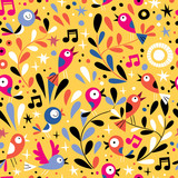 nature pattern with cute cartoon birds