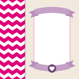 Retro Background Zig Zag Banner Pink/Purple/Beige