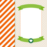 Retro Background Stripes Banner Orange/Green/Beige
