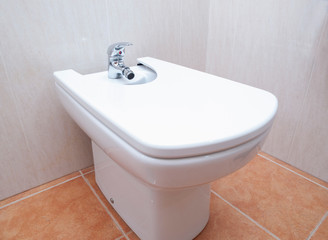 Bidet in a bathroom detail