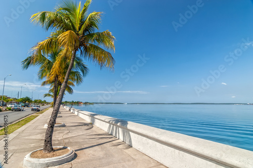 City on the water Embankment of Carribean sea in Cienfuegos, Cuba