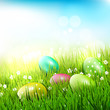 Easter eggs in the grass - Easter illustration