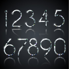Set of shiny diamond digits with reflections