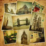 Vintage travel background with old photos of London. poster