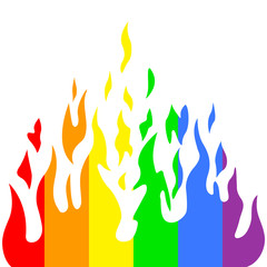 Burn flame fire rainbow colors, vector illustration.
