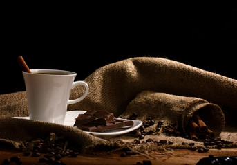 coffee with  chocolate and cinnamon