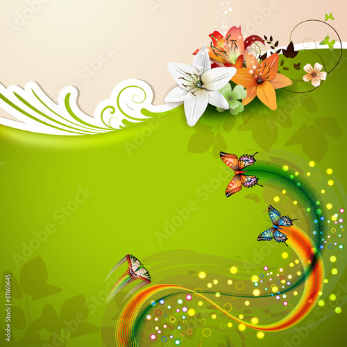 Green background with lilies and butterflies
