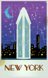 Vintage touristic poster, card, New york, vector eps 10