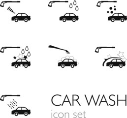 Carwash icon set Black
