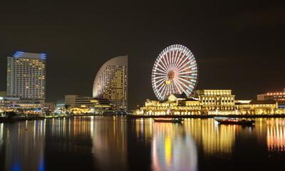 Yokohama skyline at minato mirai area at night view