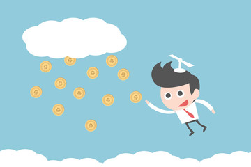 businessman flying to money