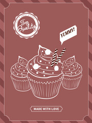 Cupcake poster design,  vector illustration