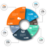 Modern paper infographics in a pie chart for web, banners, mobil