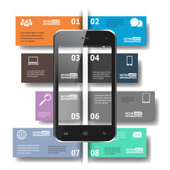 Modern paper infographics in flat design for web, banners, mobil