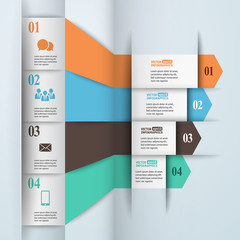 Modern paper infographics in flat design with trendy colors for