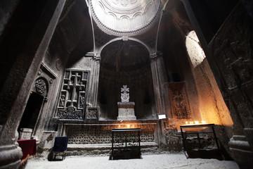 Armenia rock cut church Geghard Monastery img2394