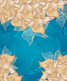 Abstract floral Background with flowers shells seaweed