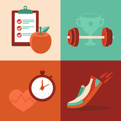 Vector fitness icons in flat trendy style
