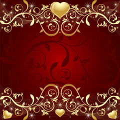 Red Background with golden leaf, hearts and stars