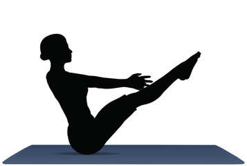 vector illustration of Yoga positions in Full Boat Pose