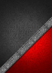 Luxury Floral Silver and Red Velvet Background