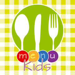 Colorful childrens menu card